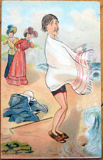 1907 Risque Postcard: Women Spot Man Bathing at the Beach - Artist-Signed, Litho