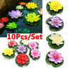 1/10Pcs Artificial Lotus Fake Water Lily Floating Flower Garden Pool Plant Decor