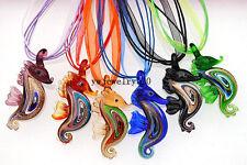Wholesale Bulk 6pcs Sea Horse Murano Glass Pendants Silk Silver T Necklace FREE