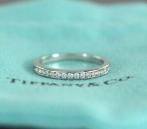 $2925 Tiffany & Co Platinum Half Circle Channel Diamond 2.5mm Wedding Band Sz 6