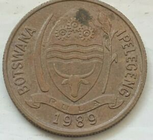 Botswana 1989 Five 5 Thebe Circulated Coin, Reeded Edge, Hornbill (#D192)