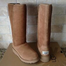 UGG KARA CLASSIC TALL SLIM CHESTNUT SUEDE WEDGE BOOTS SIZE US 10 WOMENS