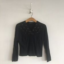 True Vintage 1930s/40s Black Wool Beaded Top UK8 10