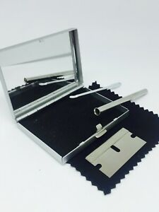 Silver KIT Box Set, Metal Mirror CASE with Straw and Spoon - UK Seller