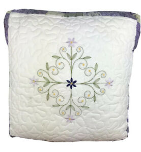 Quilted Embroidered Purple Floral Pillow 16 x 16