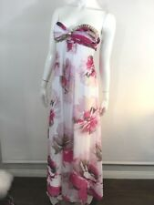 Cache Cocktail Dress 0 White Chiffon Pink Sweetheart Strapless Full Length Gown