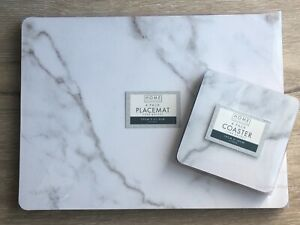 Modern Contemporary White Marble Effect 4 Coasters & 4 Placemats Set