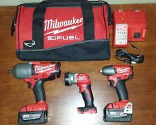 "Milwaukee M18 FUEL 3/8""+1/2"" High Torque Impact Wrench+Light Combo kit #2896-23G"