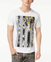 $99 Guess Men'S White Logo Graphic Tee Cotton Crew-Neck Short-Sleeve T-Shirt M
