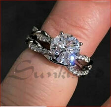 1.37 CT White Round Cut Solitaire Studded Ring Celtic Ring With Band