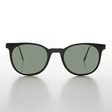 Black Rounded Square Horn Rim Vintage Sunglass with Green Lens- Enzo