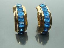 Vintage Coro Sterling Silver Gold Wash Blue Sapphire Rhinestone Clip on Earrings