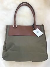 Calvin Klein H3JAE1XS Tote Green Nylon Brown Leather Shopper Bag Calvin Klein