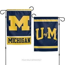 """Michigan Wolverines 2 Sided Garden Flag 12""""X18"""" Yard Banner Outdoor Rated"""