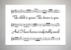Pink Floyd - Comfortably Numb - Song Sheet Print Poster Art