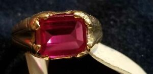 10kt Gold Men's Ruby/Sapphire Ring Size 7.5 5.3grams. Approximately 4 Carat