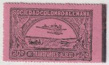 COLOMBIA - SCADTA - SEAPLANE OVER RIVER - 30c STAMP W/ PERF VAR - Sc C14 - 1920
