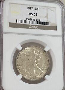 1917 Walking Liberty Half Dollar NGC MS63 Original Toning