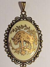 *60% OFF-SALE* Large Vintage Ivory/Gold Zodiac Pendant-TAURUS.new bronze setDESI