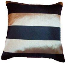 Trendy Black Silver Grey Striped Cushion covers silky heavy Fabric 18'' 45cm  BN