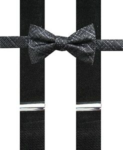 $90 New Alfani Men'S Black Stretch Suspender Gray/Black Plaid Bow Tie Combo Set