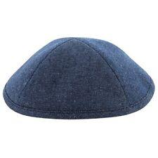 """Plain Smooth Blue Jeans Kippah Yarmulke Jewish Judaism 19 Cm 7.5"""" Polyester"""