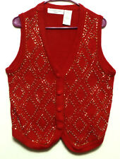 Victoria Jones Ladies Petite Red Embellished Cotton Blend Vest - Size Petite Med