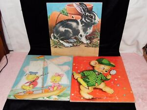 3 Vintage Saalfield Kids Picture Puzzles - Rabbit, Ducklings & Daisy Mager Bear