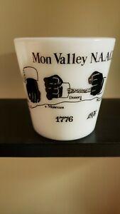 RARE PYREX MON VALLEY, Monongahela river, Underground railroad MILK GLASS MUG