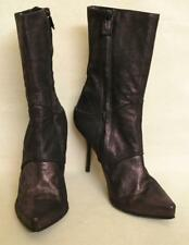 Costume National Purple Leather Mid Calf Boots Sz 37.5 - US 7.5