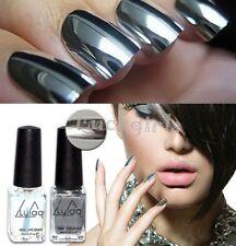 2pcs Silver Metal Mirror Effect Nail Art Polish Varnish & Base Coat DIY