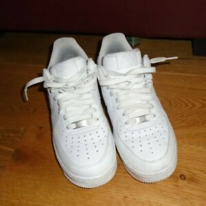 NIKE Air Force 1 White Leather Lace-Up Trainers UK6.5 EU 40 Unisex AF1