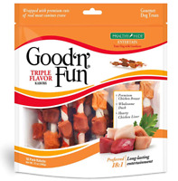 Good'N'Fun Triple Flavored Rawhide Kabobs for Dogs,Dog Treats 12ounce 18 counts