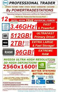 DELL Trading Computer 6Monitor XeonMaxTurbo3.46GHz 512GBSSD 2TBHDD 96GBRAM W10P!