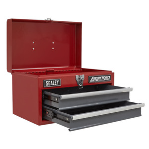 Compact American Pro RED GREY Toolbox Storage 2 Drawers + Ball Bearing Slides