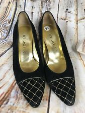 St. John Made In Italy Women's Pumps Black Suede Gold Pointy Toe US 7.5 AA