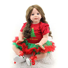 "24"" Handmade Lifelike Baby Silicone Doll Vinyl Reborn Newborn Dolls+Red Clothes,"