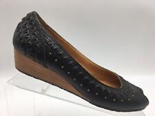 FRYE Tess Skimmer Ballet Casual Studded Flats Leather Black Peep Toe Womens 8.5