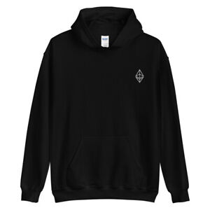 Ethereum Outline Embroidery Hoodie ETH Crypto Trading Trader Gift Sweatshirt