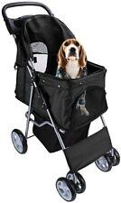 Pet Travel Stroller Dog Cat Pushchair Pram Jogger Buggy With 4 Wheels - Black