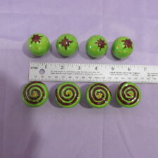 Green Ceramic Drawer Knobs 8 PC Lot Cupboard Pull Handles Retro Stars & Swirls