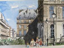 "W/C Print/ Crossing the Rue de Rivoli, Paris / 11 1.2"" x 7 12"" / Mimi Davis, Art"