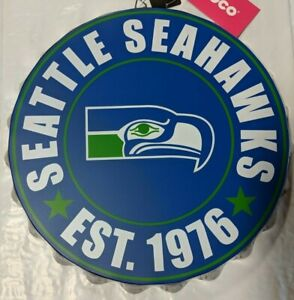 "Seattle Seahawks RETRO Bottle Cap Sign - Est 1976 - Room Bar Decor NEW 13.5"""