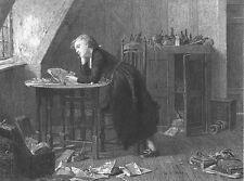 BOY in ATTIC w ANTIQUE BOOKS Death Thomas Chatterton ~ 1875 Art Print Engraving