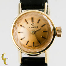 18k Yellow Gold Candino Women's Vintage Hand-Winding Watch w/ Black Leather Band