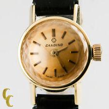 18Ct Oro Amarillo Candino Mujer Vintage Correa Manual Reloj W / Negro Cuero