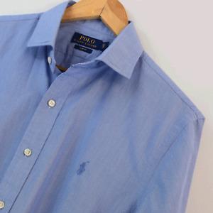 Mens Genuine Polo Ralph Lauren Blue Slim Fit Long Sleeve Shirt Size M Medium