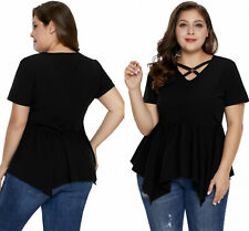Women Blouse Plus Size Cross My Hear Floral Handkerchief Cami Top With Tunic Tee