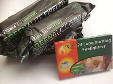 2 x Large Fire Logs & 24 FireLighters Pit Chiminea Open Fires Burners Log BBQ