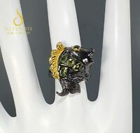 Solid 925 Sterling Silver Natural Peridot Fish Handmade Vintage Ring Fine Gift